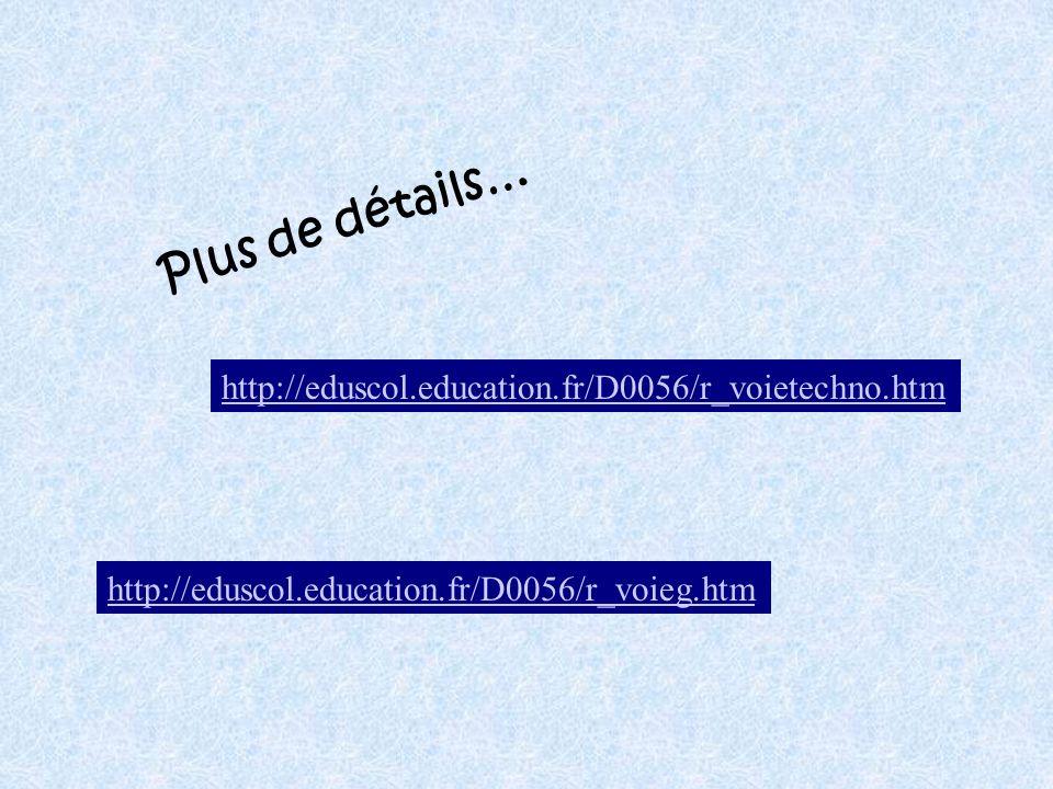 http://eduscol.education.fr/D0056/r_voieg.htm http://eduscol.education.fr/D0056/r_voietechno.htm Plus de détails…