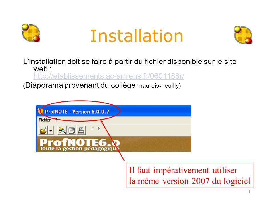 1 Installation Linstallation doit se faire à partir du fichier disponible sur le site web : http://etablissements.ac-amiens.fr/0601188r/ http://etabli