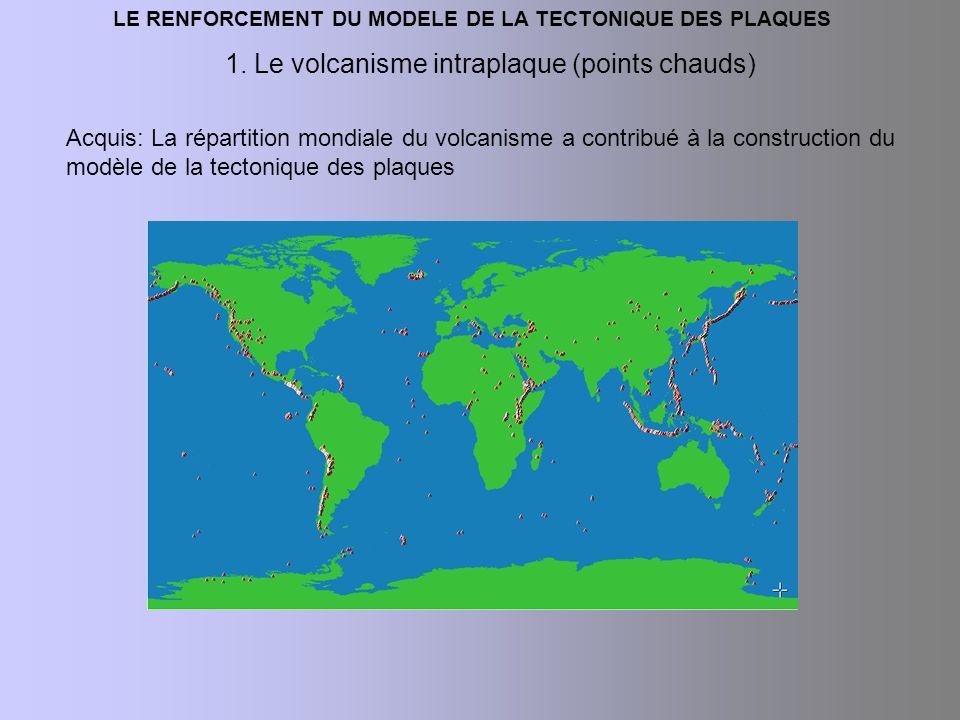 1. Le volcanisme intraplaque (points chauds) Acquis: La répartition mondiale du volcanisme a contribué à la construction du modèle de la tectonique de