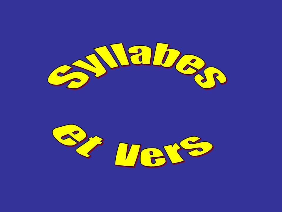 Les vers les plus courants sont l alexandrin l alexandrin (12 syllabes), le décasyllabe décasyllabe (10 syllabes), l octosyllabe l octosyllabe (8 syllabes).