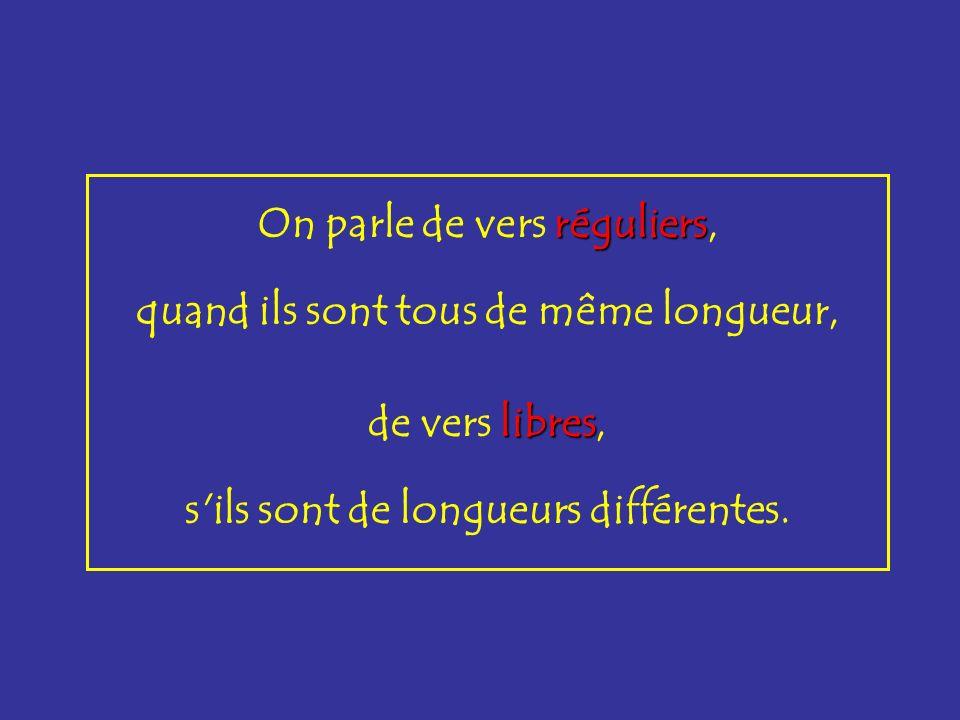 On parle de vers réguliers réguliers, quand ils sont tous de même longueur, de vers libres libres, s'ils sont de longueurs différentes.