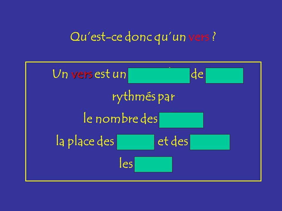 vers Un vers est un assemblage de mots rythmés par le nombre des syllabes, la place des accents et des coupes, les rimes. Quest-ce donc quun vers ?