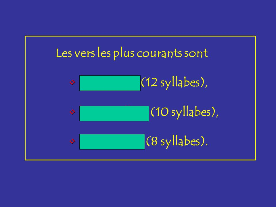 Les vers les plus courants sont l'alexandrin l'alexandrin (12 syllabes), le décasyllabe le décasyllabe (10 syllabes), l'octosyllabe l'octosyllabe (8 s