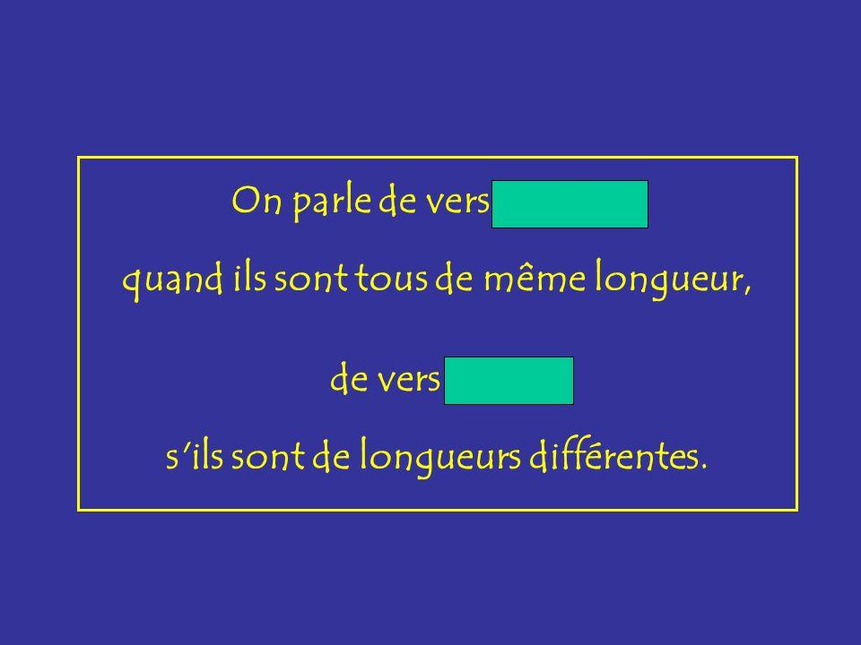 réguliers On parle de vers réguliers, quand ils sont tous de même longueur, libres de vers libres, s'ils sont de longueurs différentes.