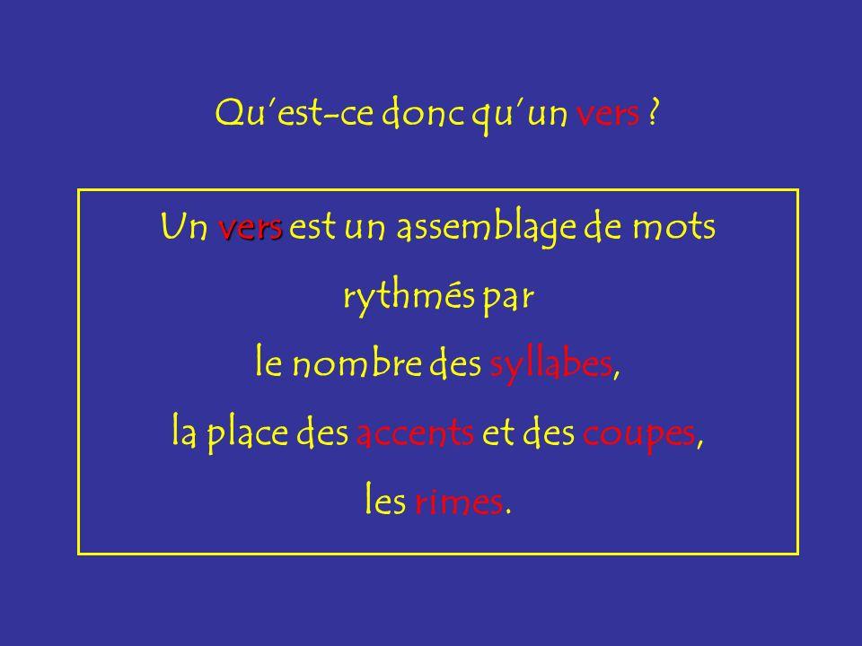 Un vers vers est un assemblage de mots rythmés par le nombre des syllabes, la place des accents et des coupes, les rimes. Quest-ce donc quun vers ?