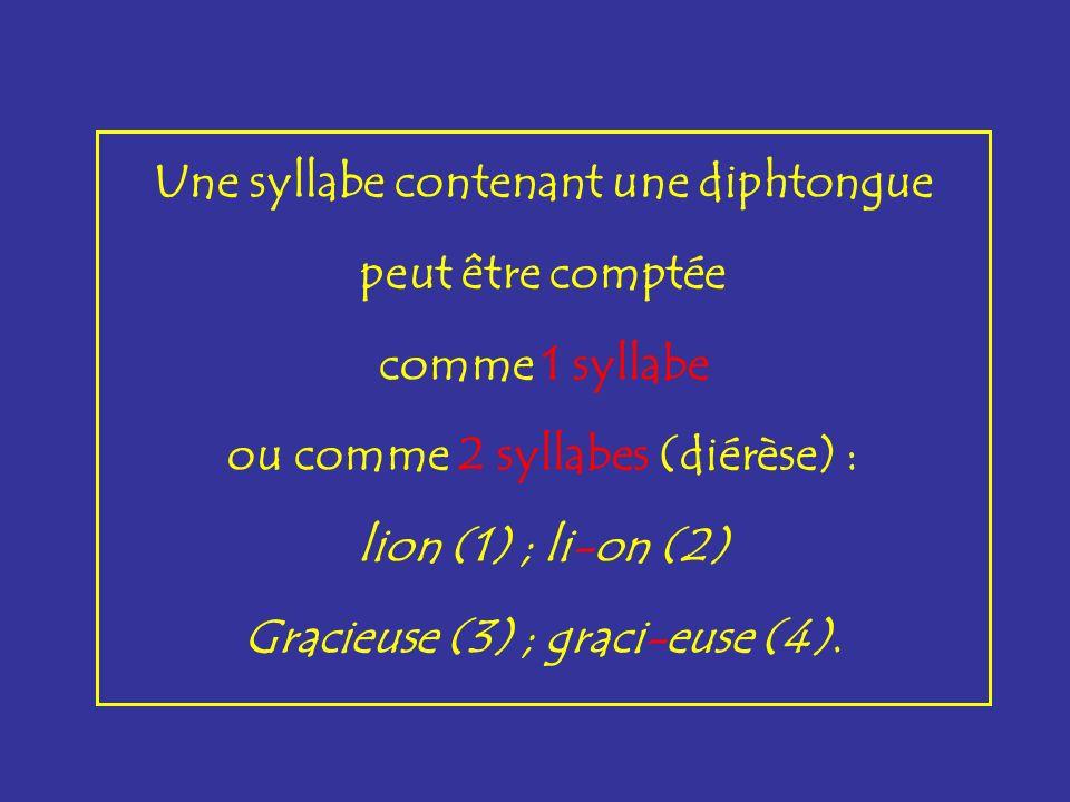 Une syllabe contenant une diphtongue peut être comptée comme 1 syllabe ou comme 2 syllabes (diérèse) : lion (1) ; li-on (2) Gracieuse (3) ; graci-euse