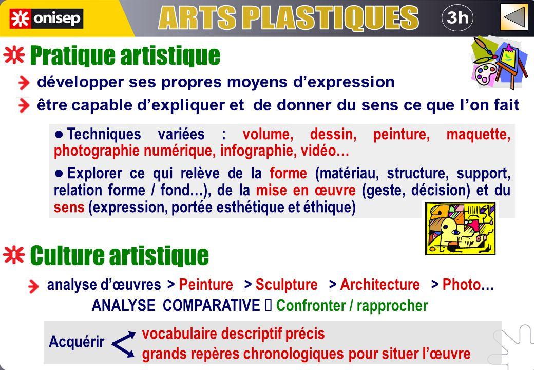 Pratique artistique analyse dœuvres > Peinture > Sculpture > Architecture > Photo… ANALYSE COMPARATIVE Confronter / rapprocher Culture artistique déve