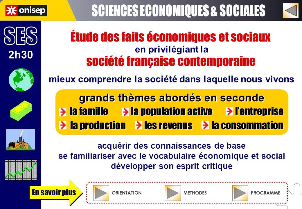 Étude des faits économiques et sociaux acquérir des connaissances de base se familiariser avec le vocabulaire économique et social développer son espr