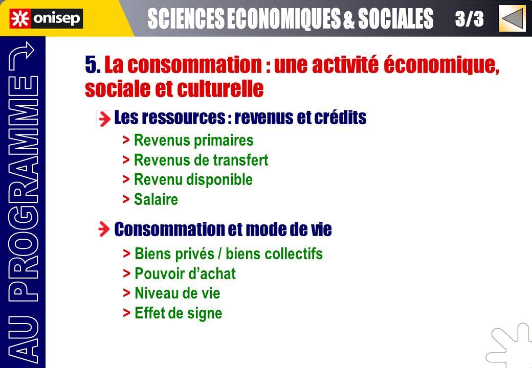 5. La consommation : une activité économique, sociale et culturelle Les ressources : revenus et crédits Consommation et mode de vie > Revenus primaire