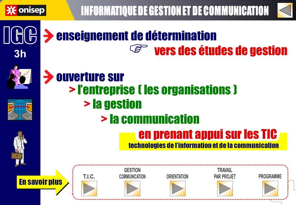 En savoir plus 3h enseignement de détermination vers des études de gestion technologies de linformation et de la communication ouverture sur > lentrep