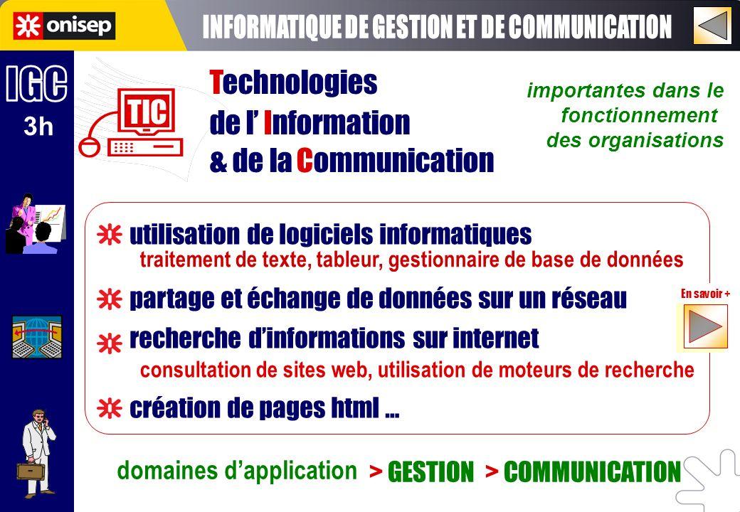 importantes dans le fonctionnement des organisations domaines dapplication > GESTION > COMMUNICATION traitement de texte, tableur, gestionnaire de bas