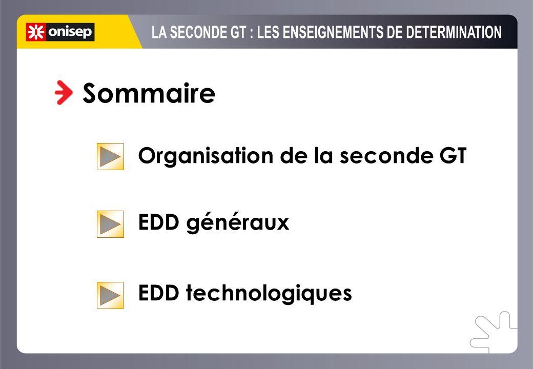 Sommaire Organisation de la seconde GT EDD généraux EDD technologiques
