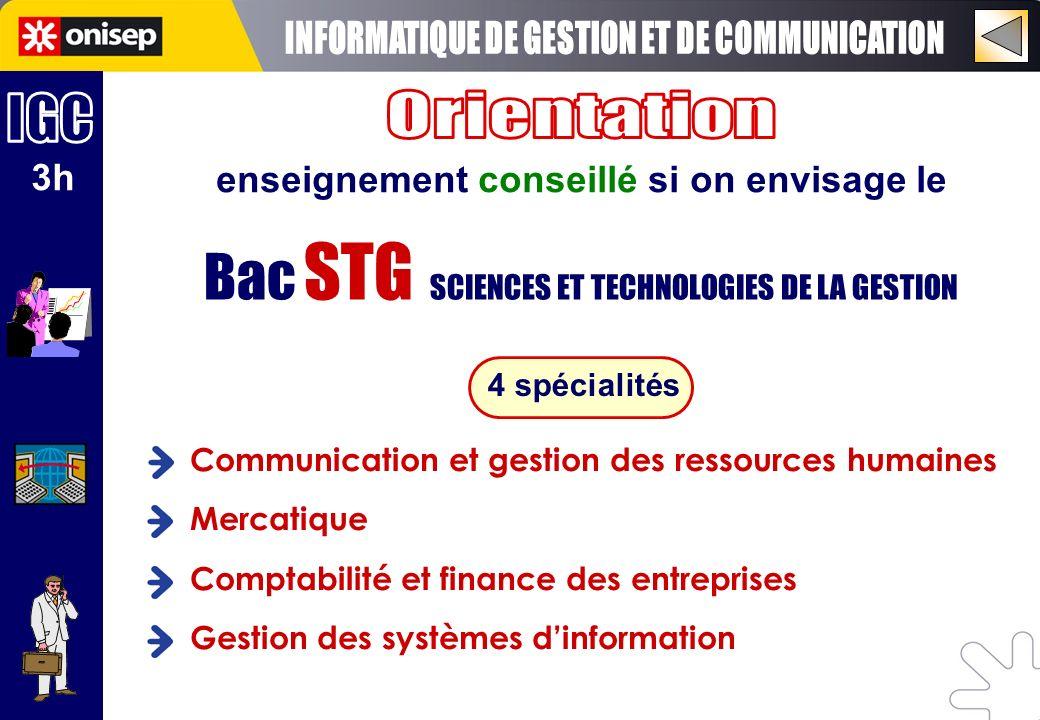 3h enseignement conseillé si on envisage le Bac STG SCIENCES ET TECHNOLOGIES DE LA GESTION 4 spécialités Communication et gestion des ressources humai