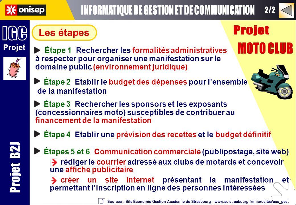 Projet Projet B2J Les étapes Sources : Site Économie Gestion Académie de Strasbourg : www.ac-strasbourg.fr/microsites/eco_gest Étape 1 Rechercher les