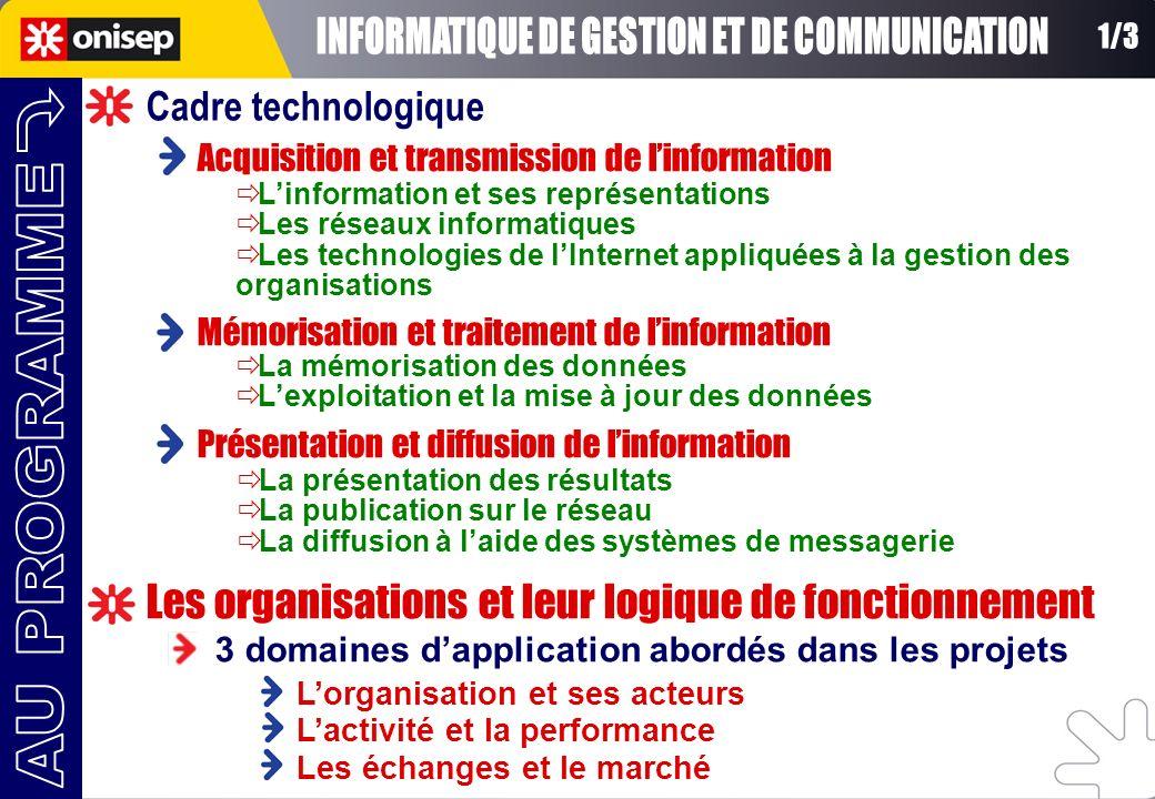 Acquisition et transmission de linformation Mémorisation et traitement de linformation Présentation et diffusion de linformation Linformation et ses r