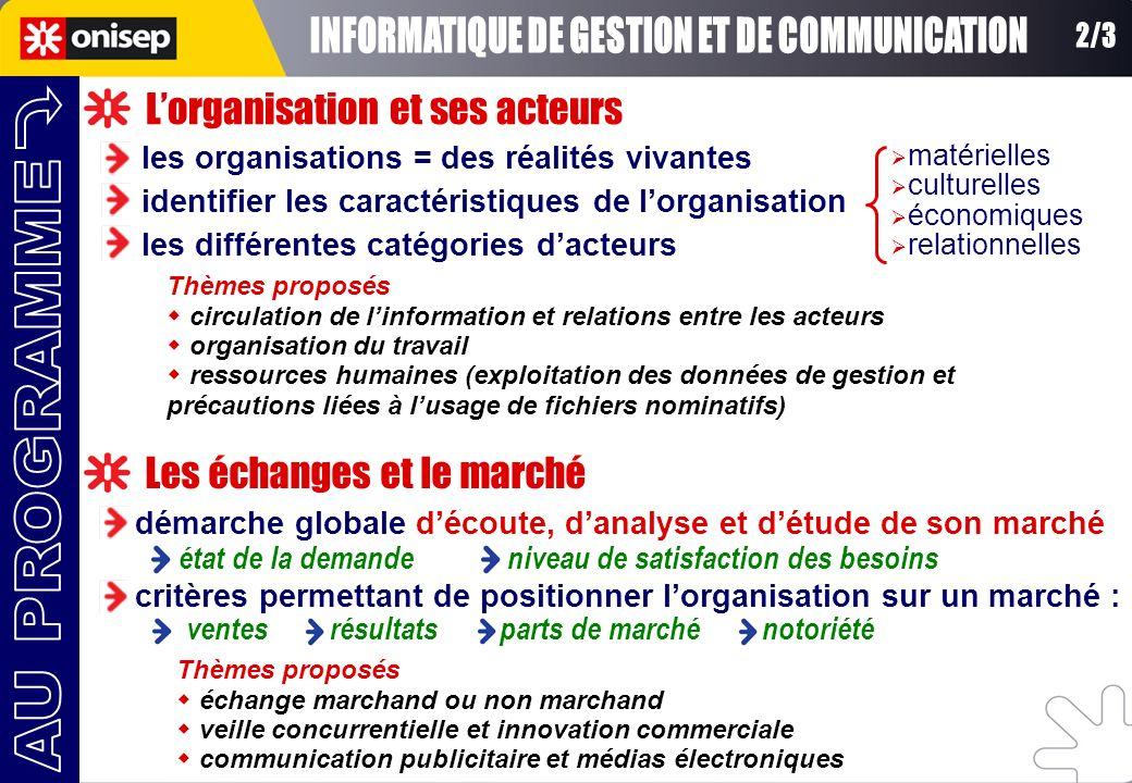 Lorganisation et ses acteurs les organisations = des réalités vivantes matérielles culturelles économiques relationnelles identifier les caractéristiq