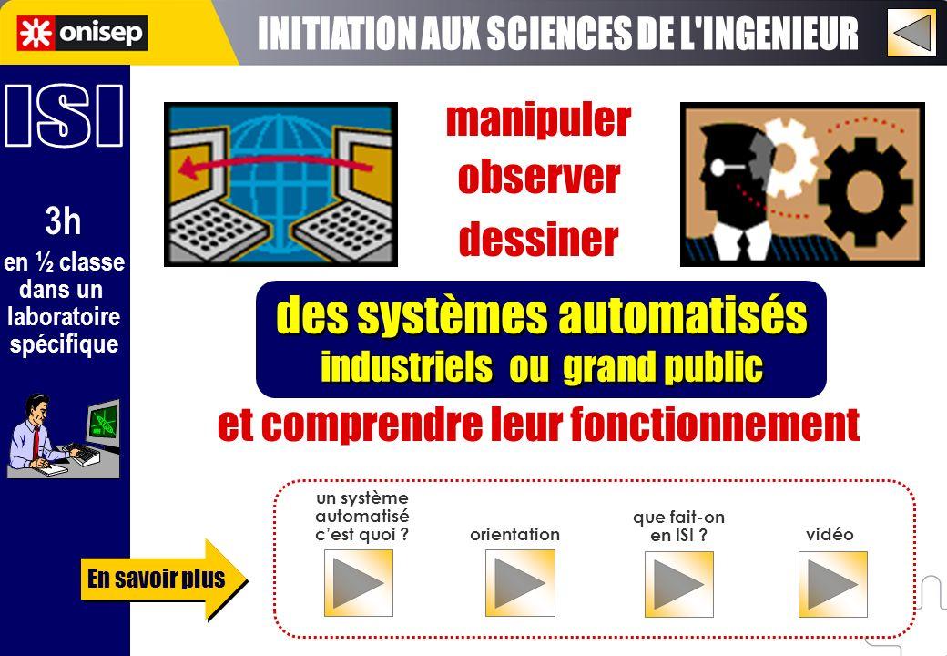 en ½ classe dans un laboratoire spécifique 3h manipuler observer dessiner et comprendre leur fonctionnement des systèmes automatisés industriels ou gr