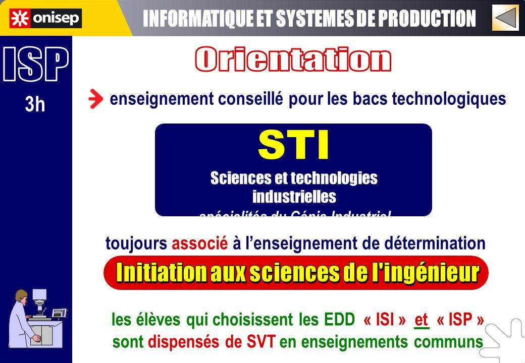 3h enseignement conseillé pour les bacs technologiques STI Sciences et technologies industrielles spécialités du Génie Industriel toujours associé à l
