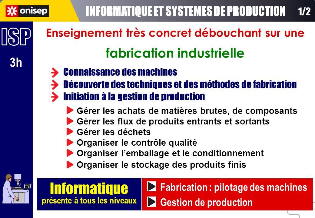 3h Enseignement très concret débouchant sur une fabrication industrielle Informatique présente à tous les niveaux Connaissance des machines Découverte