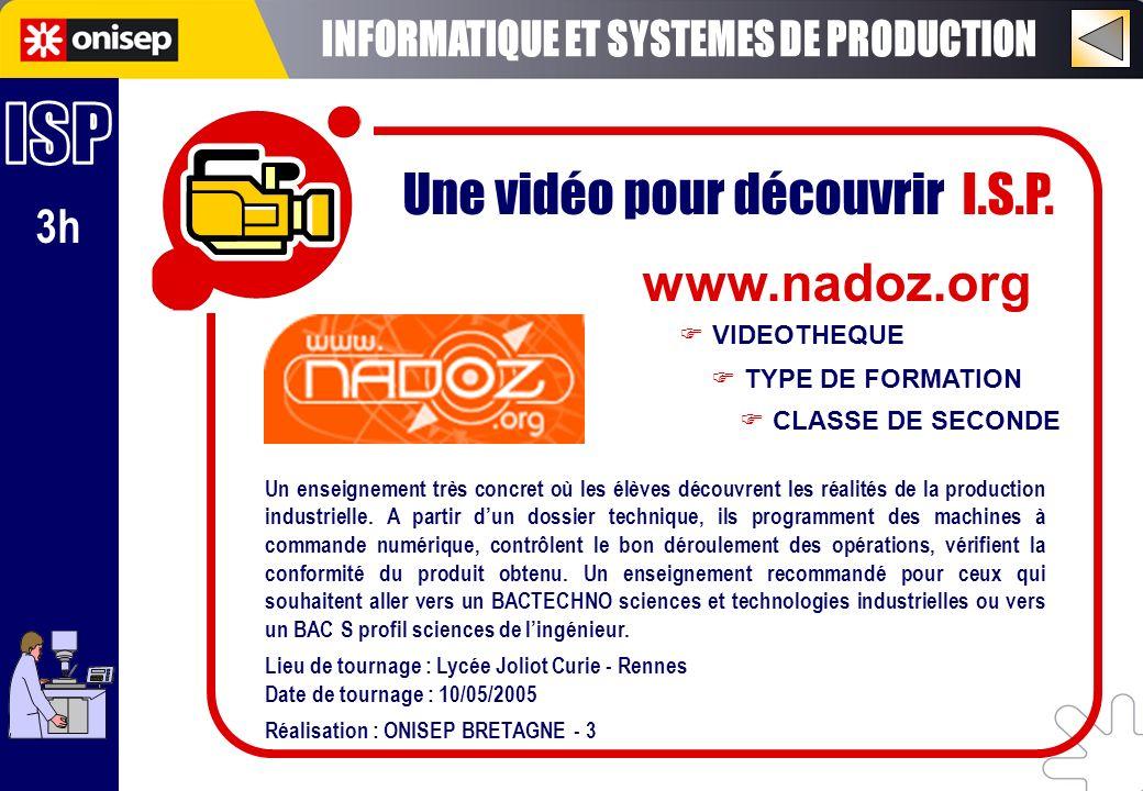 3h Une vidéo pour découvrir I.S.P. www.nadoz.org TYPE DE FORMATION VIDEOTHEQUE CLASSE DE SECONDE Un enseignement très concret où les élèves découvrent
