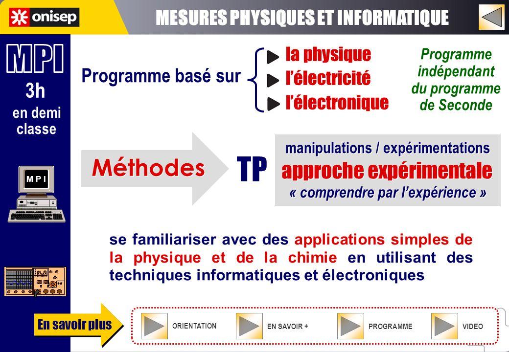 3h M P I « comprendre par lexpérience » se familiariser avec des applications simples de la physique et de la chimie en utilisant des techniques infor