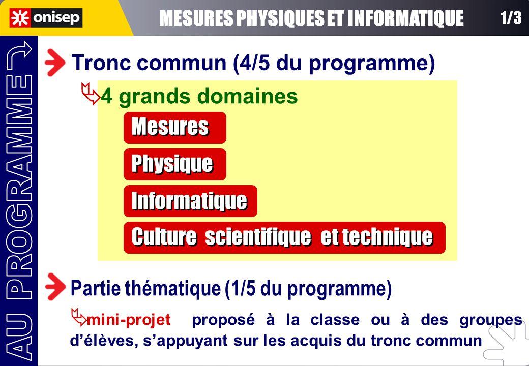1/3 Tronc commun (4/5 du programme) 4 grands domaines Mesures Physique Informatique Culture scientifique et technique Partie thématique (1/5 du progra