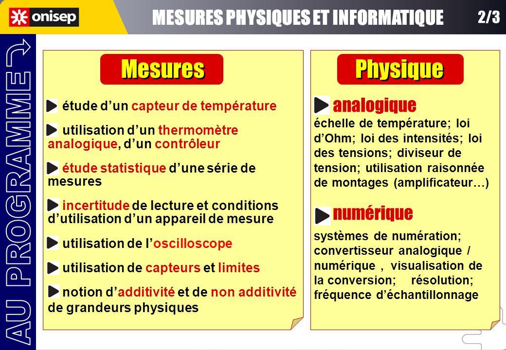 2/3 étude dun capteur de température utilisation dun thermomètre analogique, dun contrôleur étude statistique dune série de mesures incertitude de lec