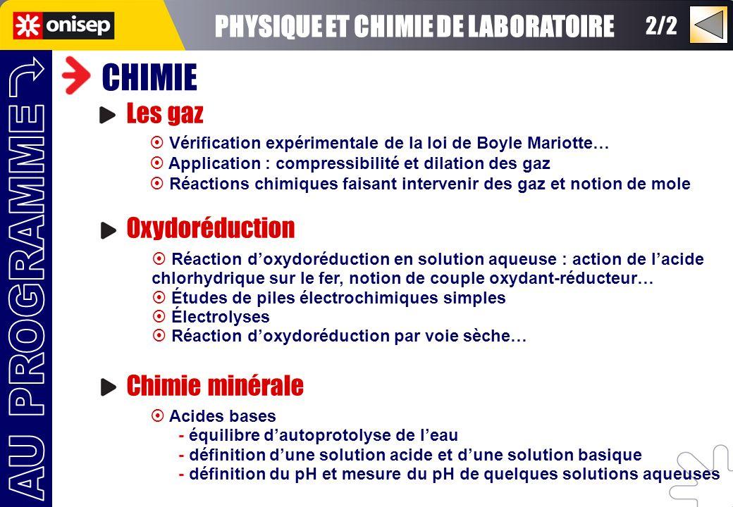 2/2 CHIMIE Les gaz Oxydoréduction Chimie minérale Vérification expérimentale de la loi de Boyle Mariotte… Application : compressibilité et dilation de