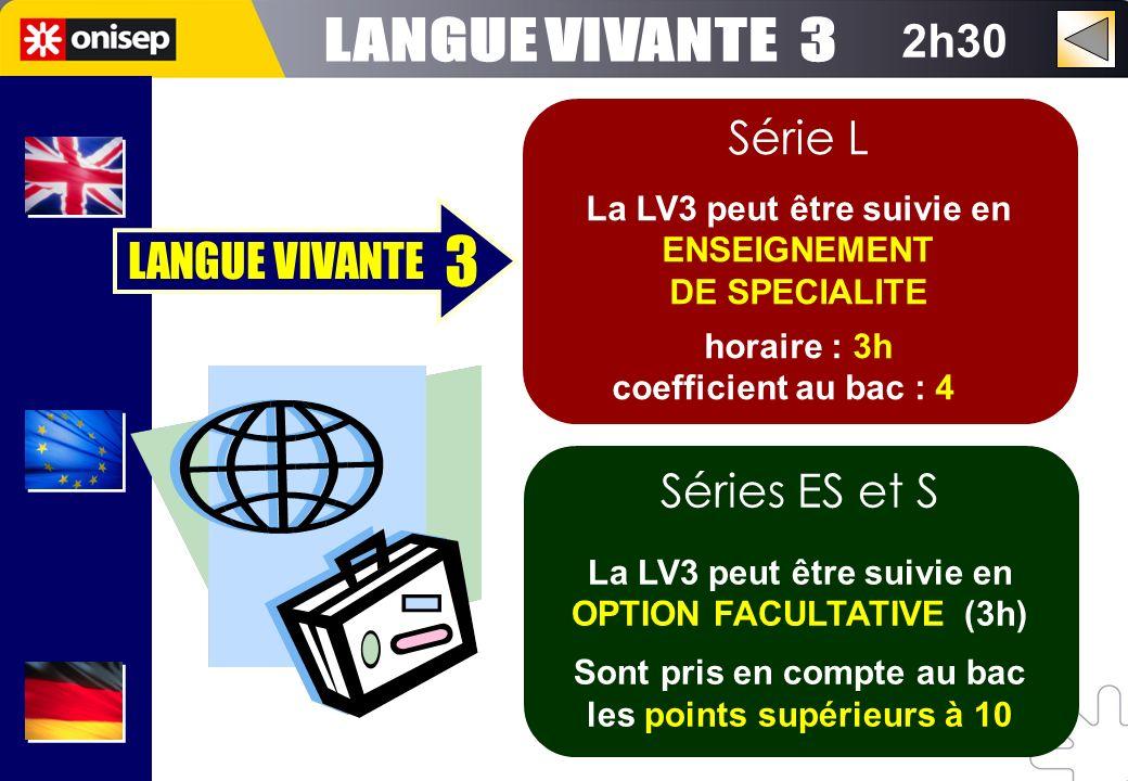 2h30 Série L La LV3 peut être suivie en ENSEIGNEMENT DE SPECIALITE horaire : 3h coefficient au bac : 4 Séries ES et S La LV3 peut être suivie en OPTIO