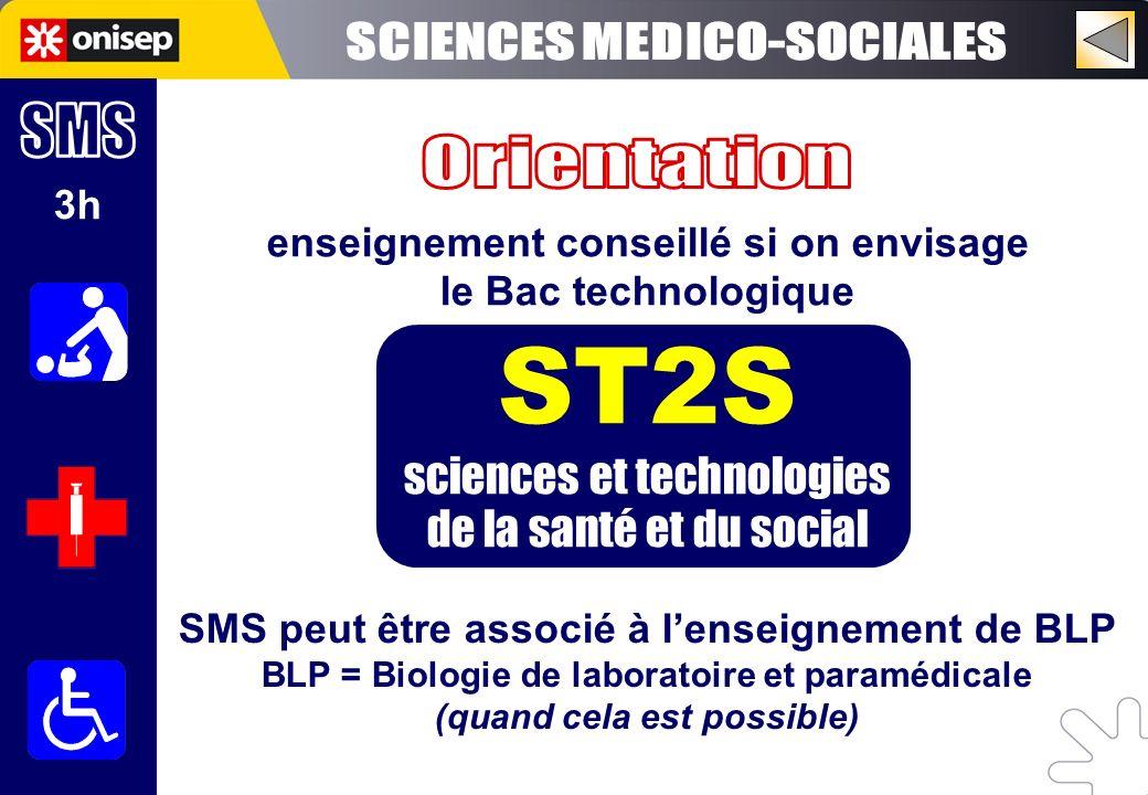 3h enseignement conseillé si on envisage le Bac technologique ST2S sciences et technologies de la santé et du social SMS peut être associé à lenseigne