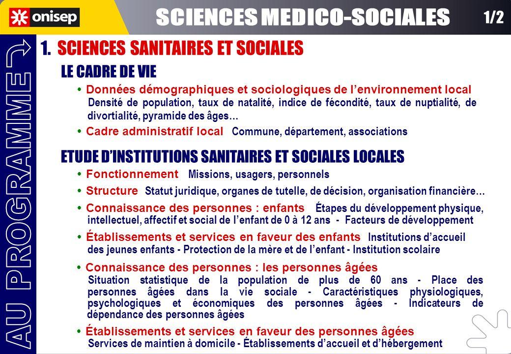 1. SCIENCES SANITAIRES ET SOCIALES Données démographiques et sociologiques de lenvironnement local Densité de population, taux de natalité, indice de