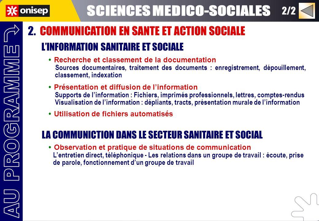 2. COMMUNICATION EN SANTE ET ACTION SOCIALE LINFORMATION SANITAIRE ET SOCIALE Recherche et classement de la documentation Sources documentaires, trait