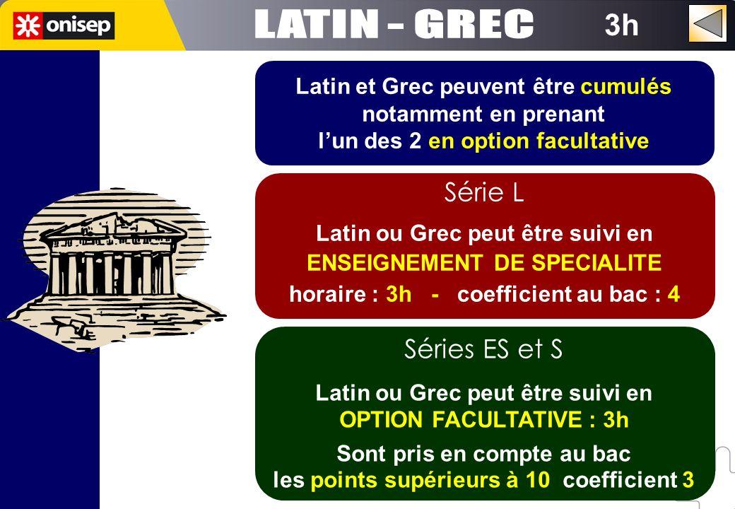 3h Latin et Grec peuvent être cumulés notamment en prenant lun des 2 en option facultative Série L Latin ou Grec peut être suivi en ENSEIGNEMENT DE SP