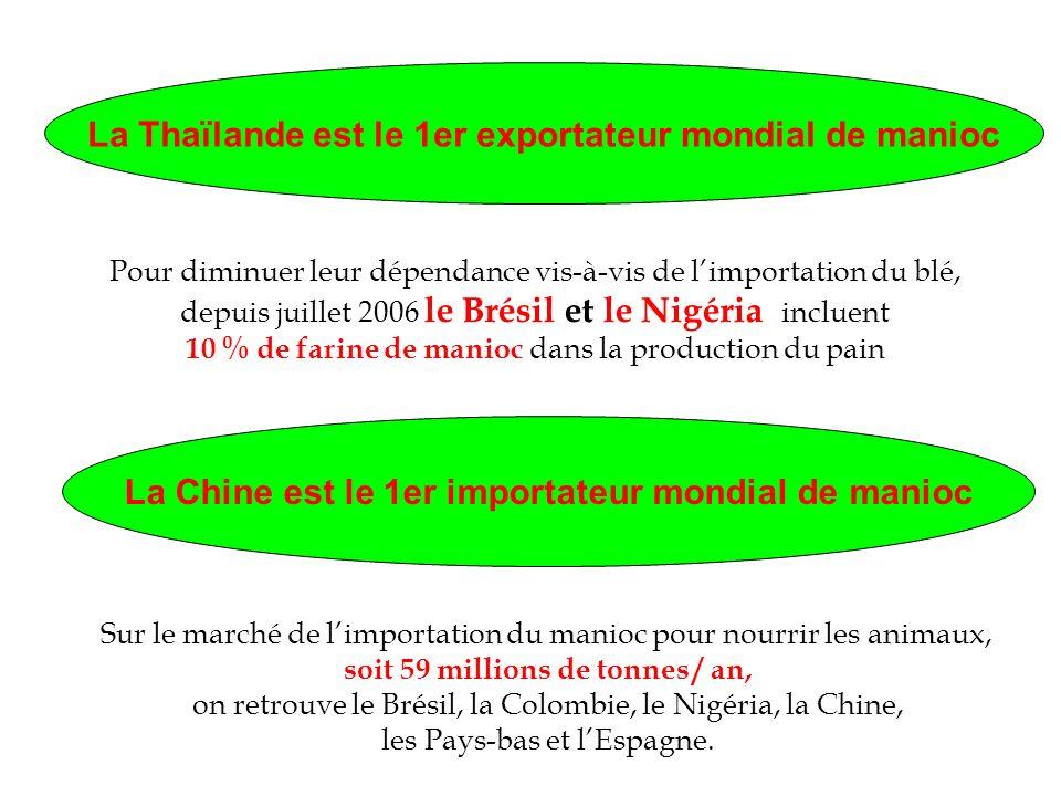 La Thaïlande est le 1er exportateur mondial de manioc La Chine est le 1er importateur mondial de manioc Pour diminuer leur dépendance vis-à-vis de lim