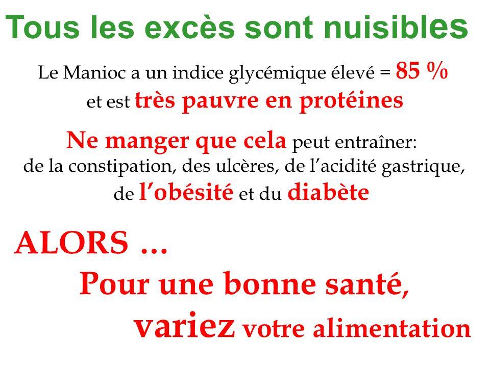 Tous les excès sont nuisibl es Pour une bonne santé, variez votre alimentation Le Manioc a un indice glycémique élevé = 85 % et est très pauvre en pro