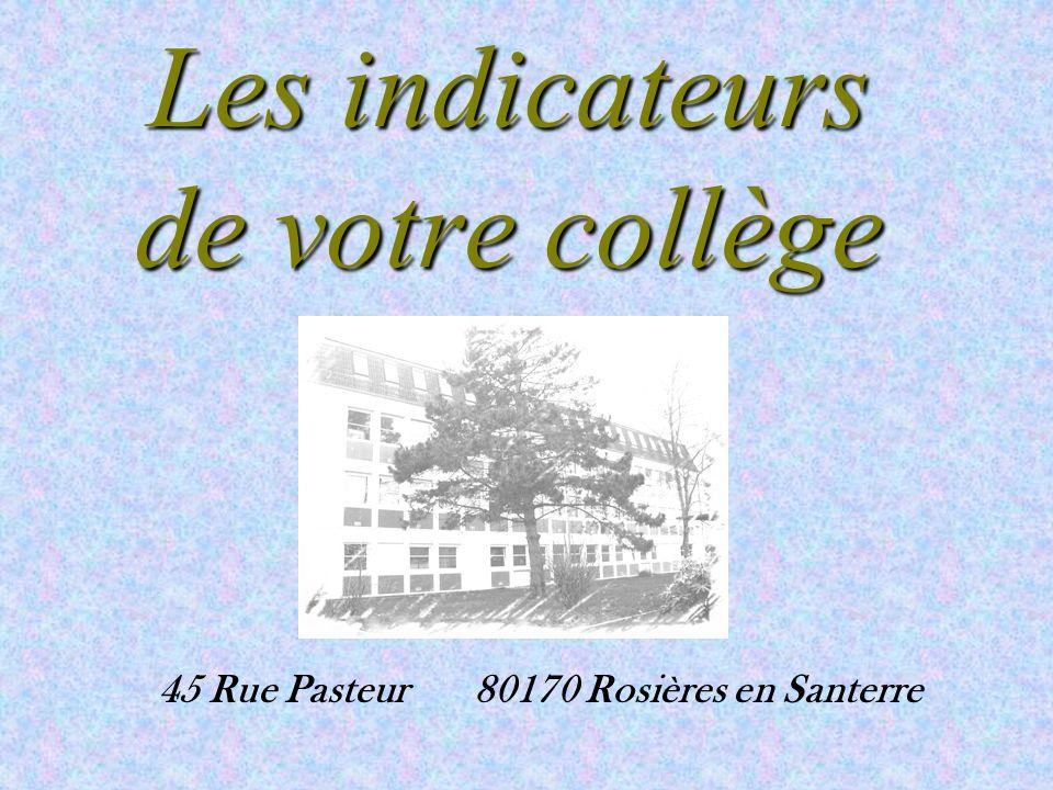 Les indicateurs de votre collège 45 Rue Pasteur80170 Rosières en Santerre