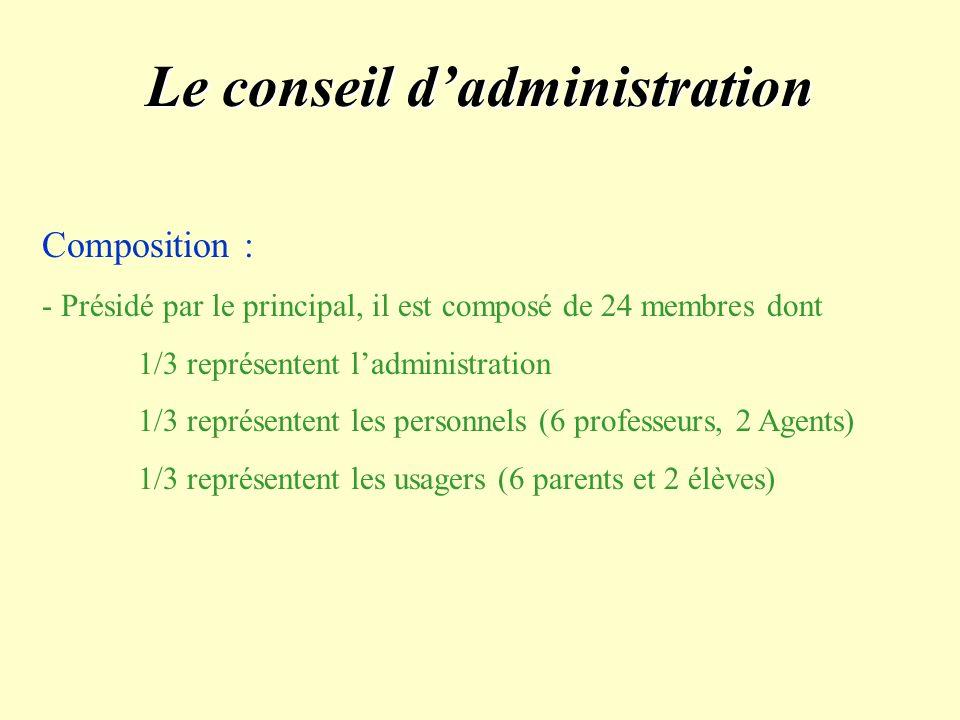 Le conseil dadministration Composition : - Présidé par le principal, il est composé de 24 membres dont 1/3 représentent ladministration 1/3 représentent les personnels (6 professeurs, 2 Agents) 1/3 représentent les usagers (6 parents et 2 élèves)