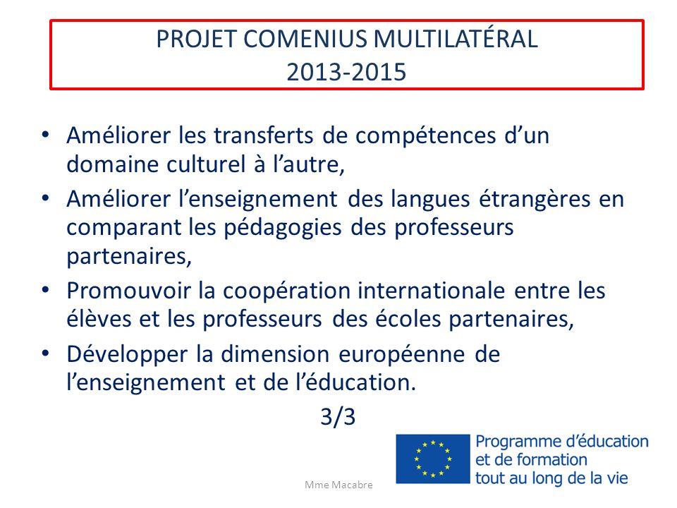 PROJET COMENIUS MULTILATÉRAL 2013-2015 Améliorer les transferts de compétences dun domaine culturel à lautre, Améliorer lenseignement des langues étra