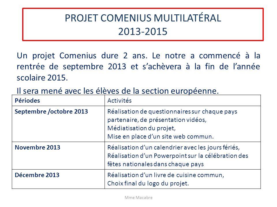 PROJET COMENIUS MULTILATÉRAL 2013-2015 Un projet Comenius dure 2 ans. Le notre a commencé à la rentrée de septembre 2013 et sachèvera à la fin de lann