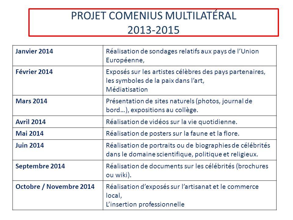 PROJET COMENIUS MULTILATÉRAL 2013-2015 Janvier 2014Réalisation de sondages relatifs aux pays de lUnion Européenne, Février 2014Exposés sur les artiste