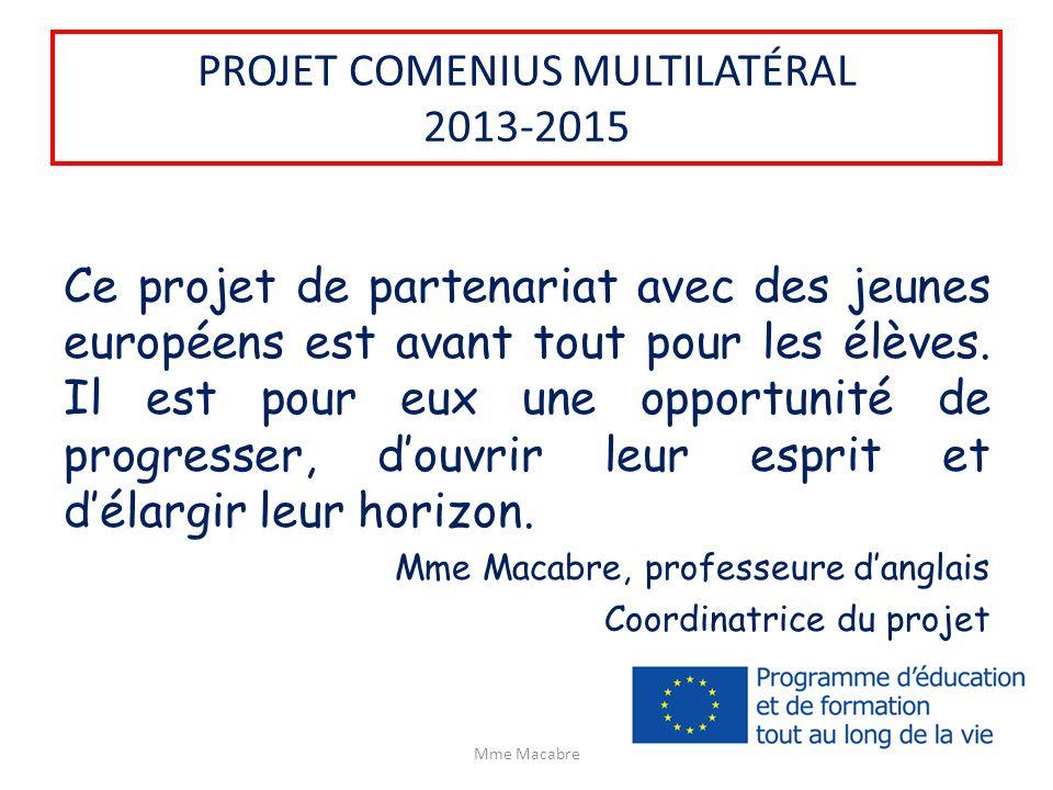 PROJET COMENIUS MULTILATÉRAL 2013-2015 Ce projet de partenariat avec des jeunes européens est avant tout pour les élèves. Il est pour eux une opportun