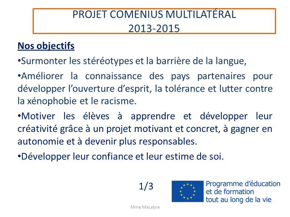 PROJET COMENIUS MULTILATÉRAL 2013-2015 Nos objectifs Surmonter les stéréotypes et la barrière de la langue, Améliorer la connaissance des pays partena