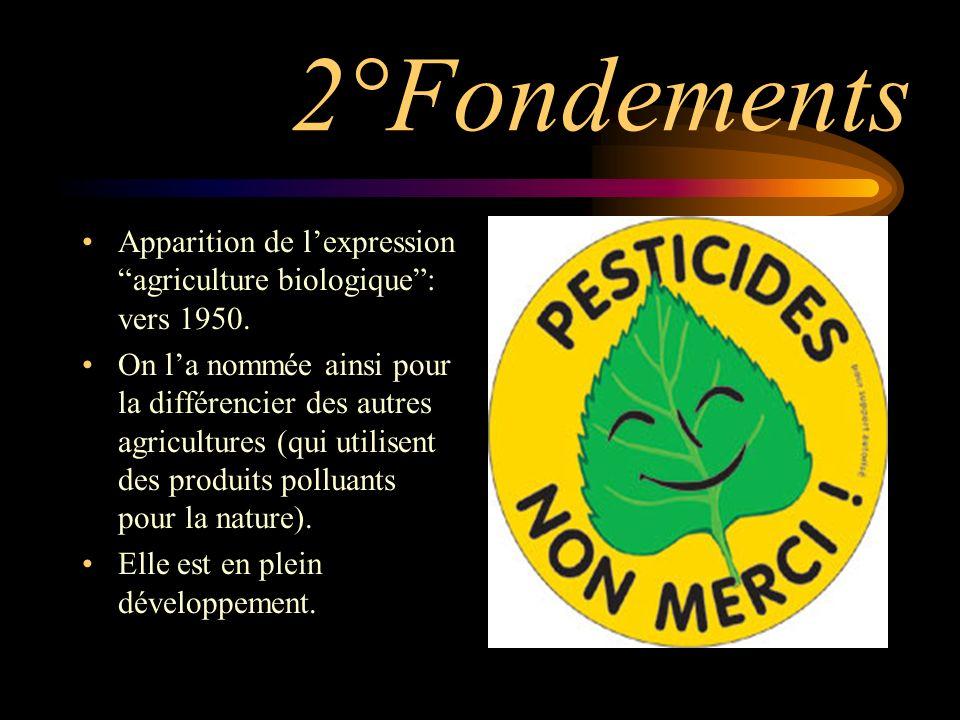 2°Fondements Apparition de lexpression agriculture biologique: vers 1950.