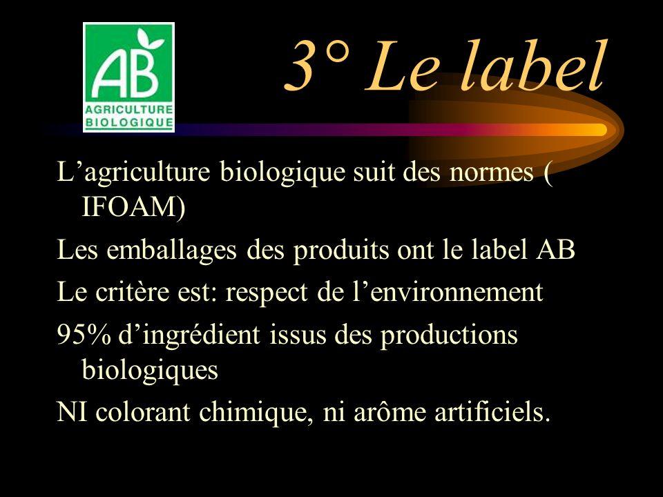 3° Le label Lagriculture biologique suit des normes ( IFOAM) Les emballages des produits ont le label AB Le critère est: respect de lenvironnement 95% dingrédient issus des productions biologiques NI colorant chimique, ni arôme artificiels.