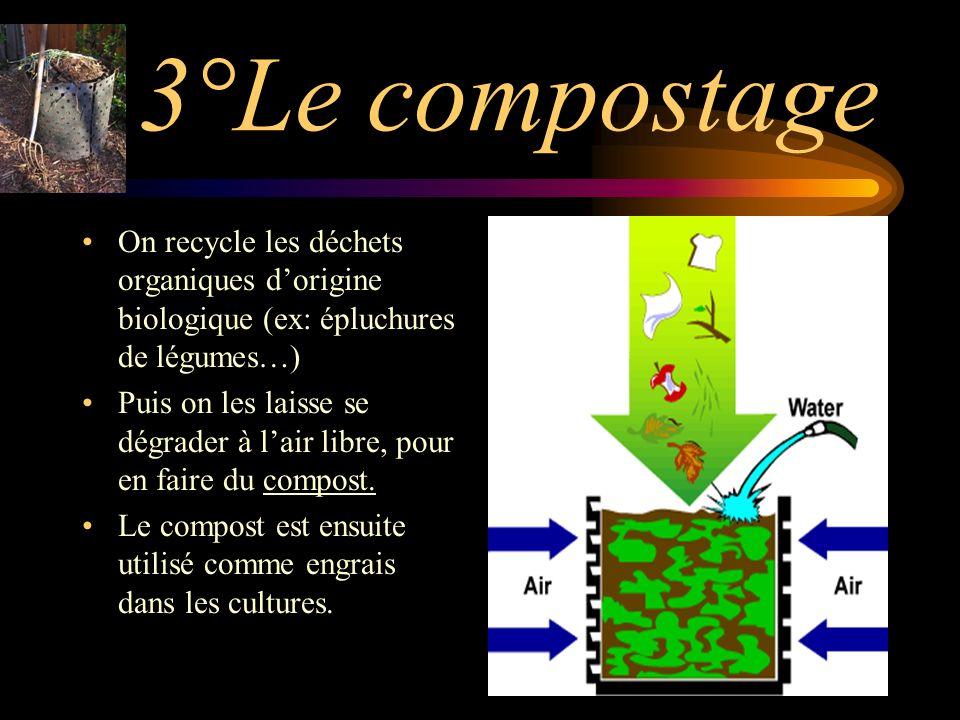 3°Le compostage On recycle les déchets organiques dorigine biologique (ex: épluchures de légumes…) Puis on les laisse se dégrader à lair libre, pour en faire du compost.