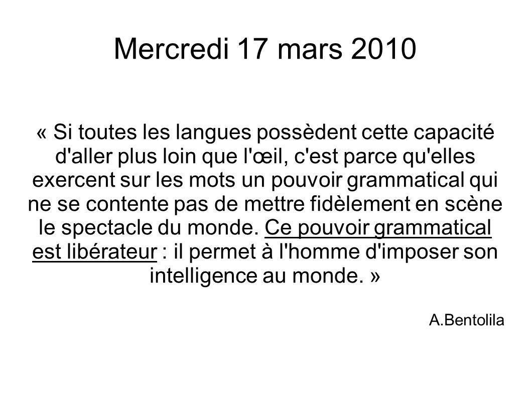 Mercredi 17 mars 2010 « Si toutes les langues possèdent cette capacité d'aller plus loin que l'œil, c'est parce qu'elles exercent sur les mots un pouv