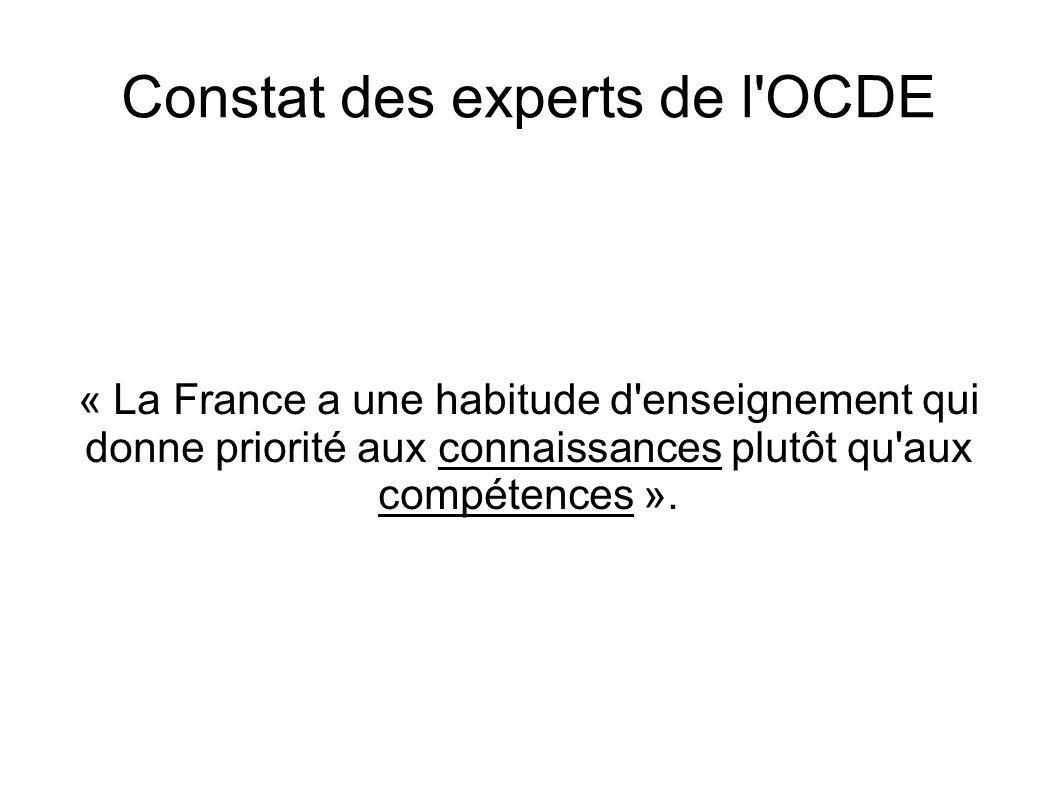 Constat des experts de l'OCDE « La France a une habitude d'enseignement qui donne priorité aux connaissances plutôt qu'aux compétences ».