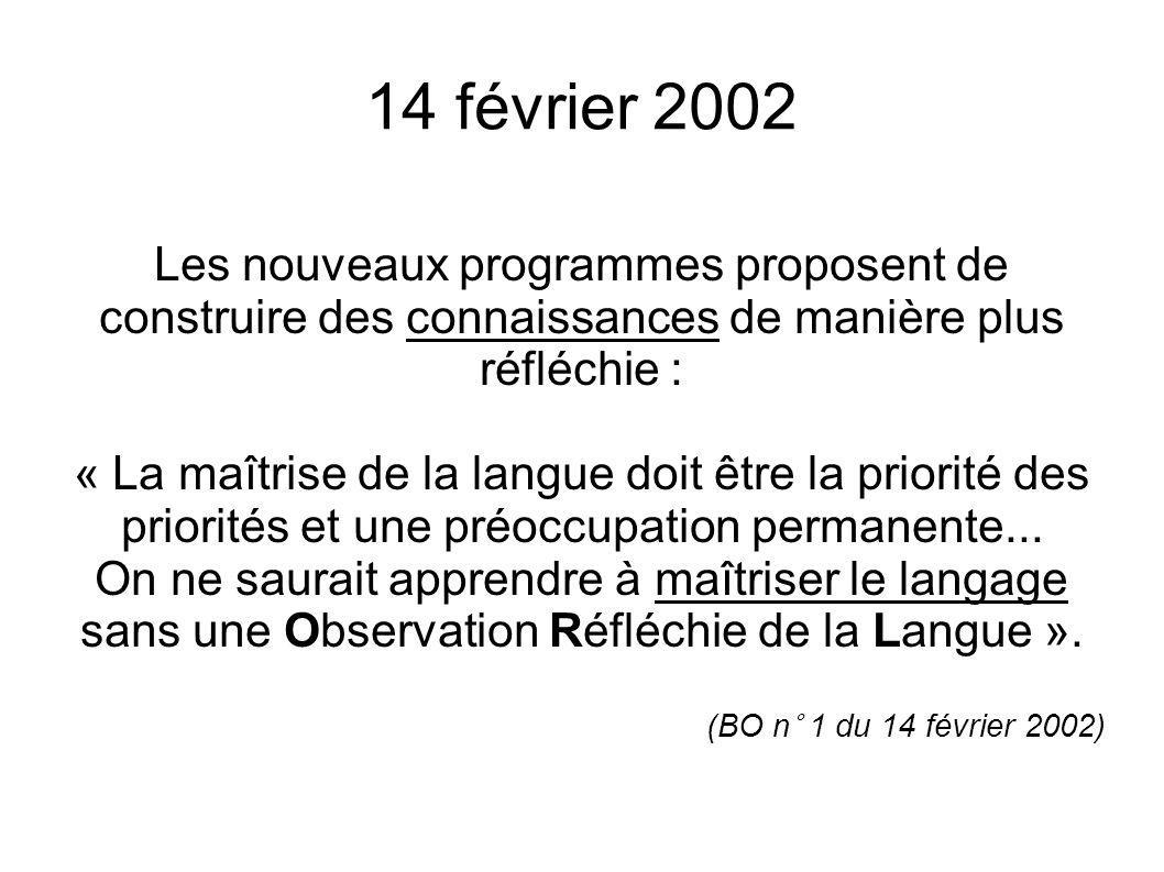 14 février 2002 Les nouveaux programmes proposent de construire des connaissances de manière plus réfléchie : « La maîtrise de la langue doit être la