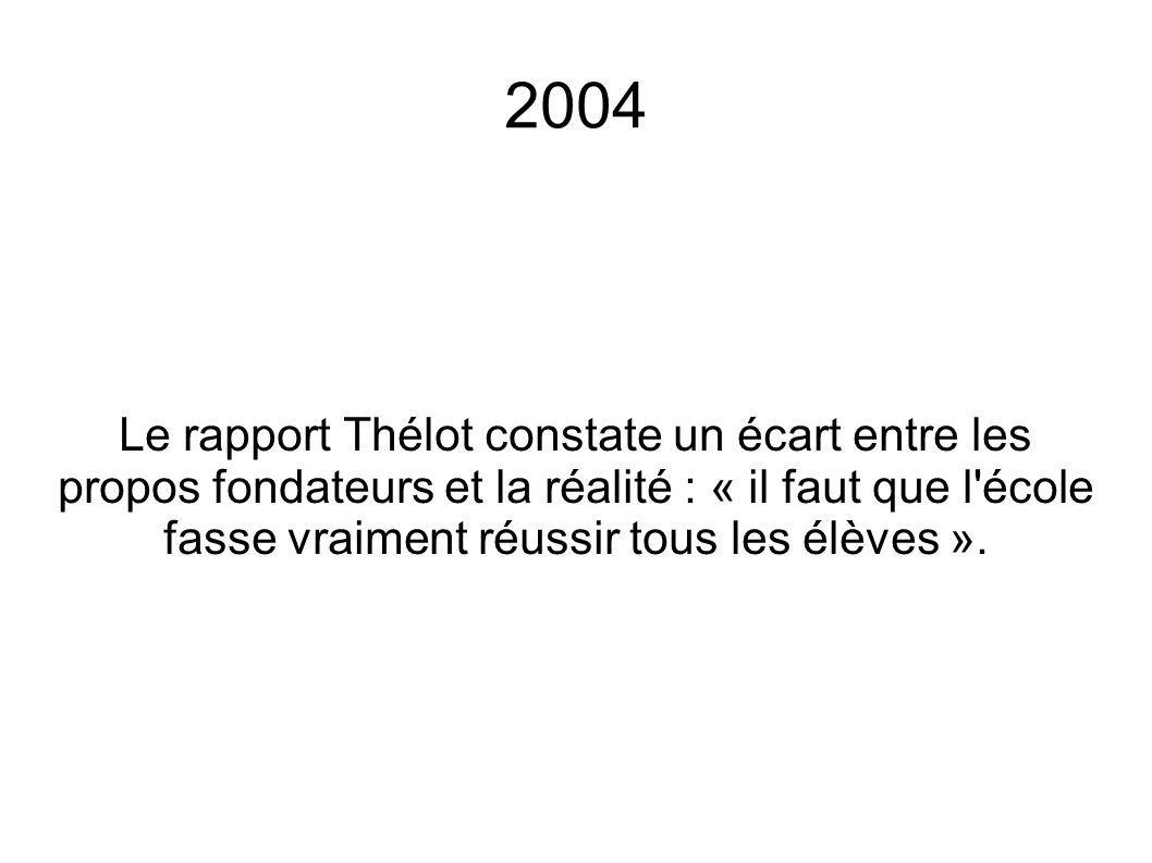 2004 Le rapport Thélot constate un écart entre les propos fondateurs et la réalité : « il faut que l'école fasse vraiment réussir tous les élèves ».