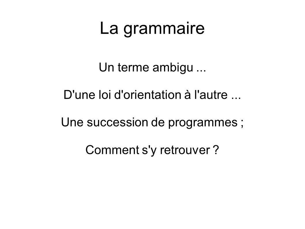 La grammaire Un terme ambigu... D'une loi d'orientation à l'autre... Une succession de programmes ; Comment s'y retrouver ?